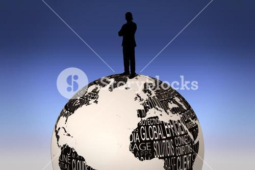 Composite image of silhouette of businessman