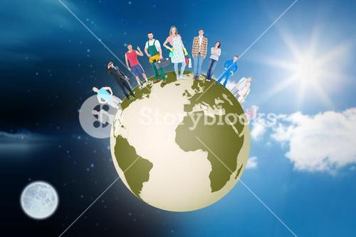 Composite image of people standing on earth