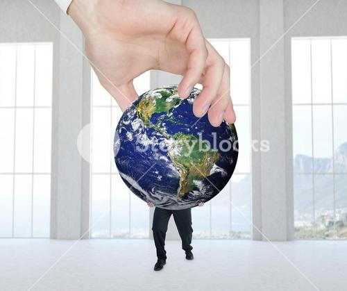 Composite image of hand presenting