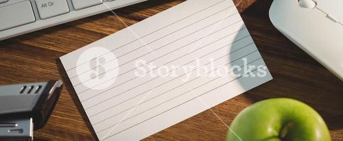 Overhead shot of flashcard