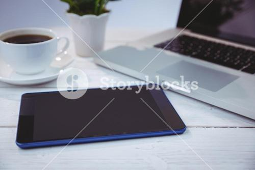 Overhead shot of laptop and tablet