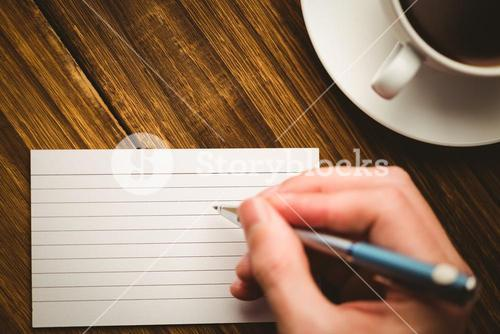 Hand writing on the flashcard