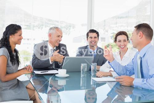Business team laughing together