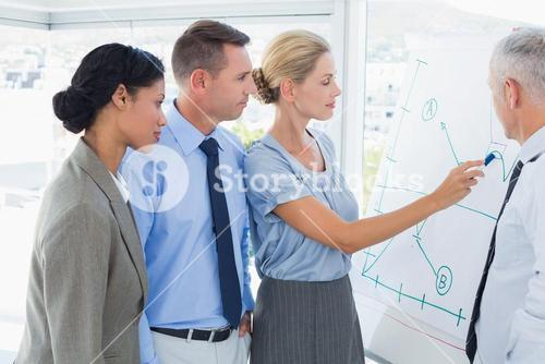 Businesswoman drawing graph on the whiteboard