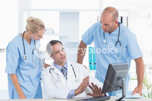 Doctor speaking with his colleague