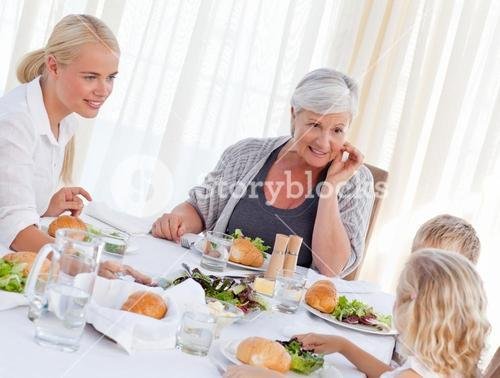 Family talking together at table