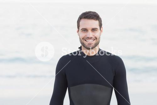 Man in wetsuit on a sunny day