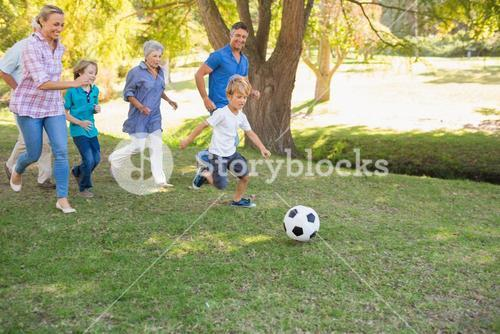 Happy family playing at the ball