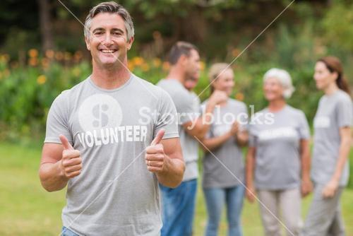 Happy volunteer with thumb up