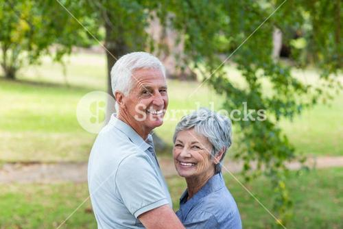 Happy old couple smiling
