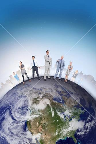 Composite image of people standing on the world