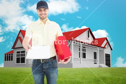 Composite image of courier man with red box giving clipboard