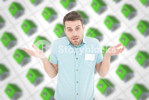 Composite image of delivery man giving i dont know gesture