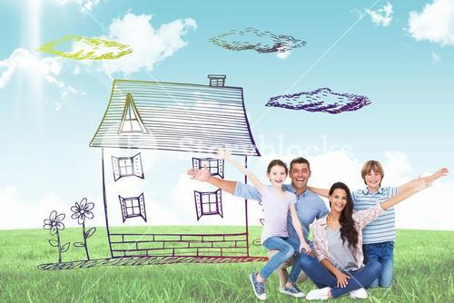 Composite image of happy family with arms outstretched over white background