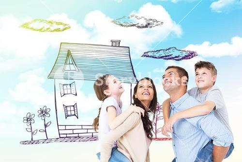 Composite image of parents giving piggyback ride to children while looking up