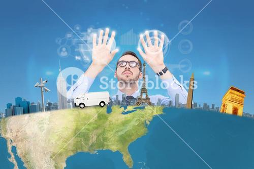 Composite image of businessman with arms raised and his fingers spread out