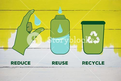 Composite image of reduce reuse recycle