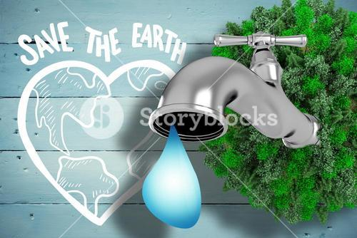 Composite image of earth with faucet
