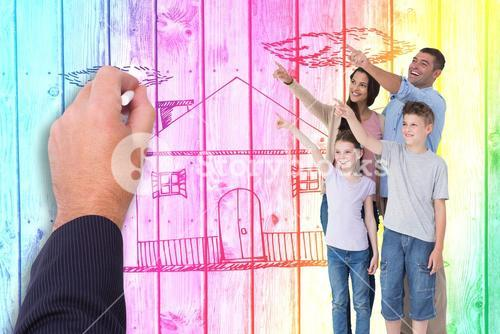 Composite image of family of four pointing at copy space