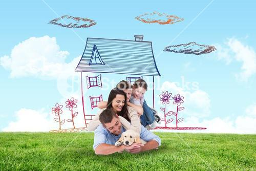 Composite image of happy family with puppy