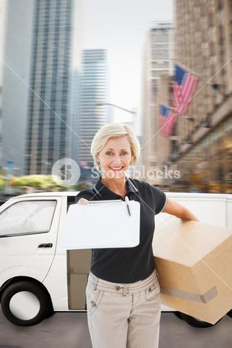Composite image of happy delivery woman looking for signature