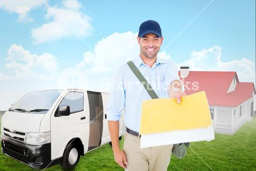 Composite image of happy postman delivering letter on white background