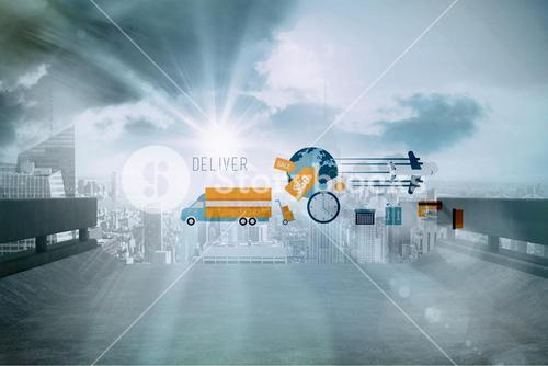 Composite image of logistics graphics