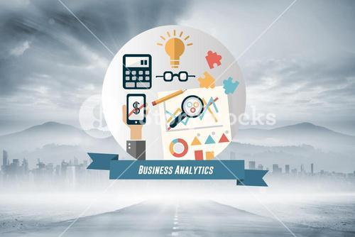 Composite image of business analytics graphic