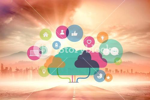 Composite image of apps and cloud computing concept