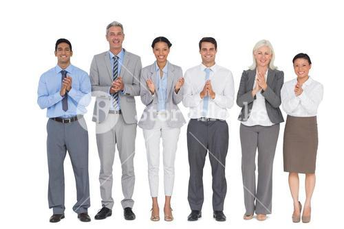 Smiling business people applauding