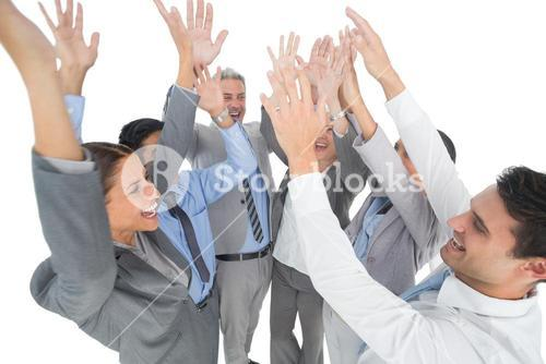 Business people raising their arms