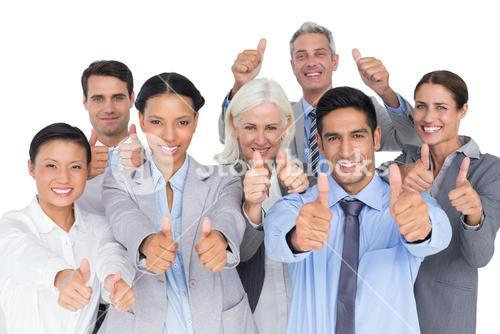 Happy business people with thumbs up looking at camera