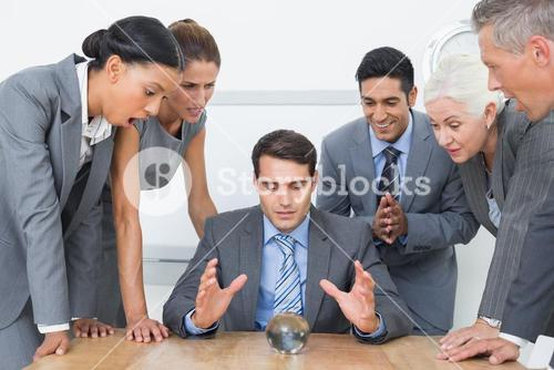 group of business man predict the future