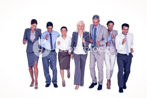 Business people running together