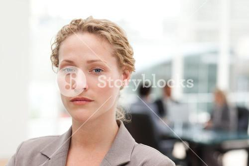 Serious businesswoman in her office