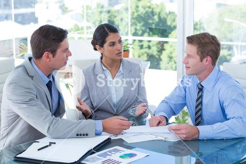 Business people in discussion in an office