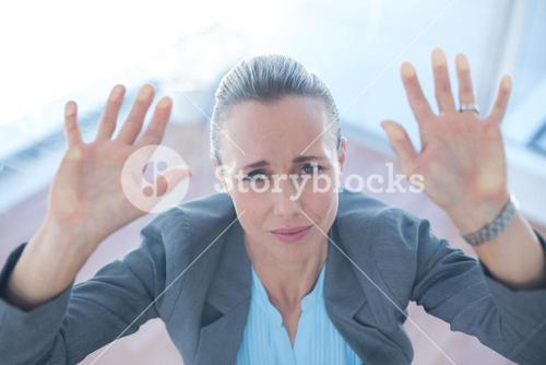 Businesswoman feeling trapped