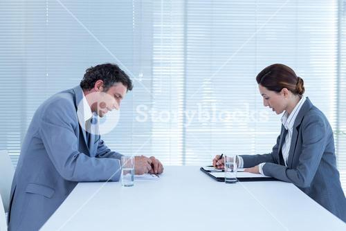 Business people brainstorming together