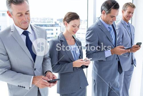 Employees using their mobile phone