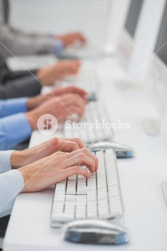 Business team working on computers