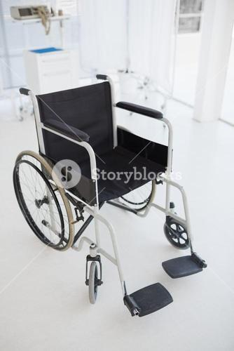 Black wheelchair in hospital