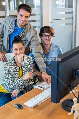 Professional designers working on photos