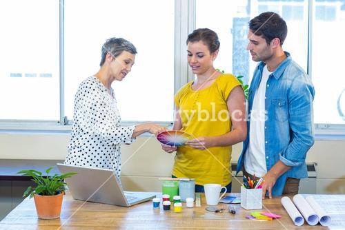 Casual business team discussing about colour chart