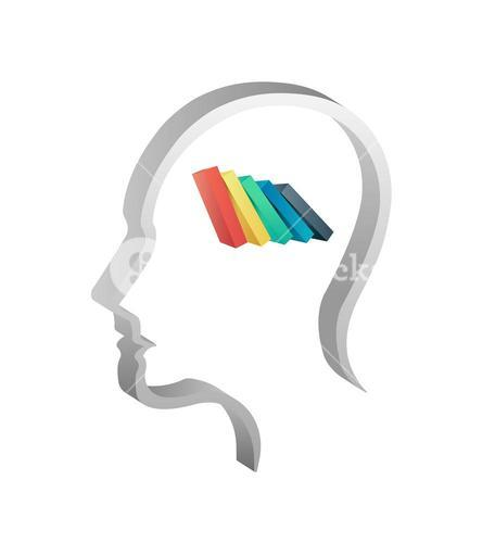 Head with colorful bars falling over
