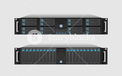 Server tower on white background
