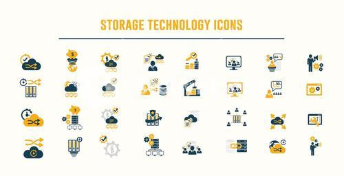 Storage technology icons vector