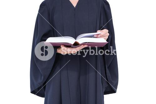 A lawyer reading law code