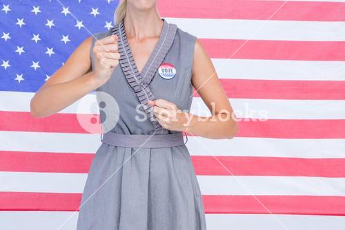 Blonde woman motivating for electoral campaign