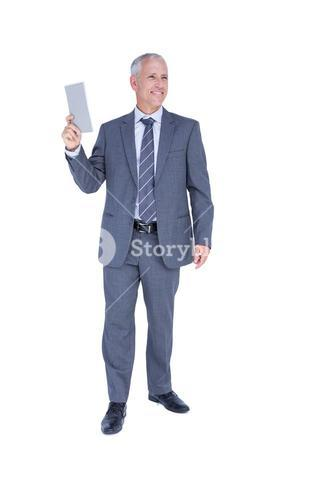 Businessman holding paper in his hand