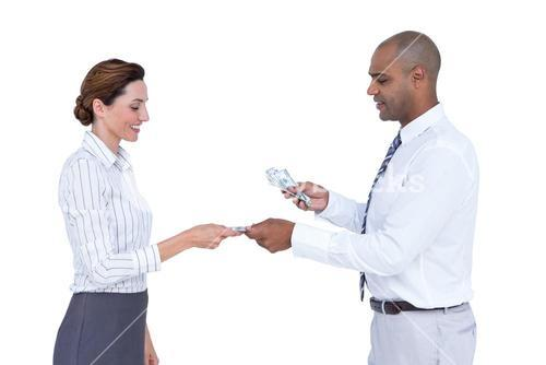 Business people exchanging bank notes